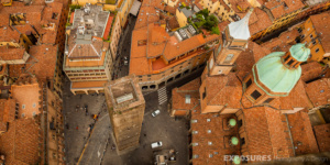 Birdseye on Bologna from tower Asinelli