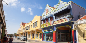 Brightly painted Dutch colonial style houses, Bonaire