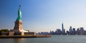 Liberty island and skyline, New York