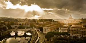 Rome by rain, view on Vatican (from Castel Sant Angelo)